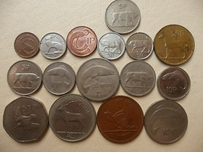 Lot of 16 Irish Coins of Ireland - With Animals and Harps