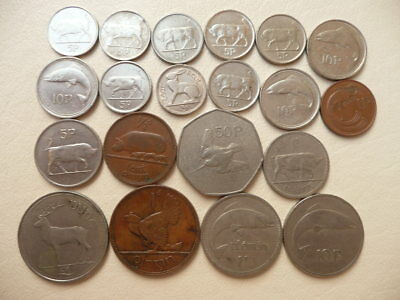 Lot of 20 Irish Coins of Ireland - With Animals and Harps
