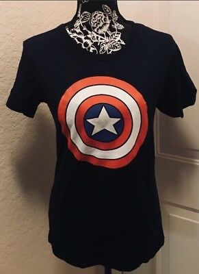 Captain America Shield, Women's, Slim Large-Juniors, Navy, NWOT