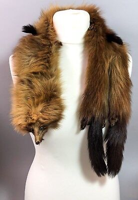 Vintage real fur marten scarf stole wrap face paws tail fully lined double end