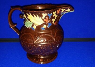 Very rare Masonic Interest Early 19th Century Copper Lustre Jug