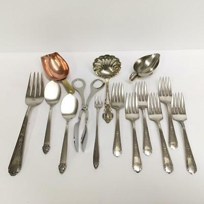 Lot of 14 Pieces Vtg Silver plate Silverplate Copper Serving Pieces / Flatware