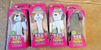Lot of 4 My Fuzzy Friends Dogs Pez Dispensers NIB:Beagle,Terrier,Bull Dog,Poodle