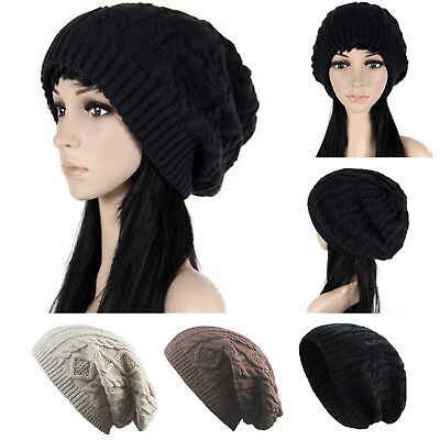 Winter Knit Slouchy Beanie Bobble Hat Warm Soft Oversized Chunky Cable Hats 65ce1ba5a79f