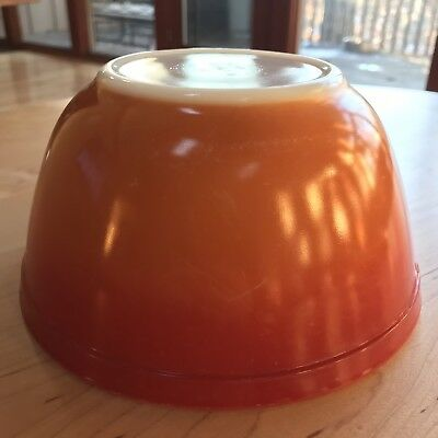 Vintage PYREX Glass FLAMEGLO #402 NESTING Mixing BOWL 1.5 Qt Red Orange Ombre