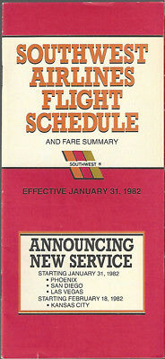Southwest Airlines system timetable 1/31/82