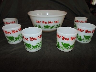 Vintage Hazel Atlas Glass Christmas Eggnog Punch Bowl Set With 6 Cups