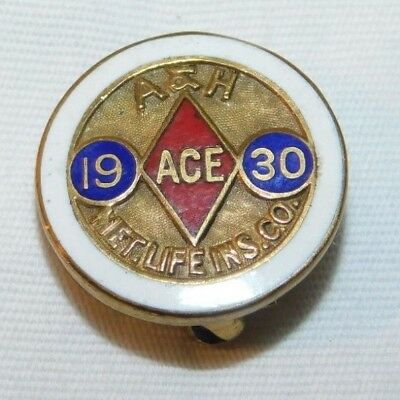 RARE 1930 Met Life Insurance Co Accident & Health Ace Advertising Employee Pin