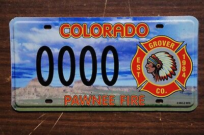 PAWNEE FIRE Colorado License Plate - Indian Head Tribal Tag
