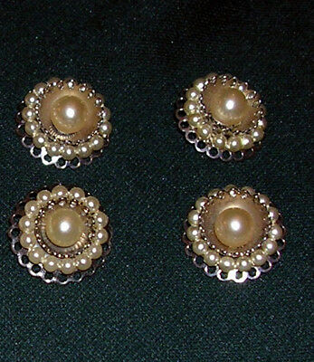 A Set Of 4 Pearl & Silver Buttons With Shank Backs For Fastening Or Decoration