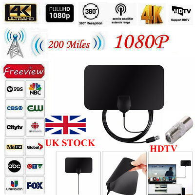 1080P Digital HDTV Indoor Freeview Antenna With TV 200 Miles Range 4K Ultra Thin