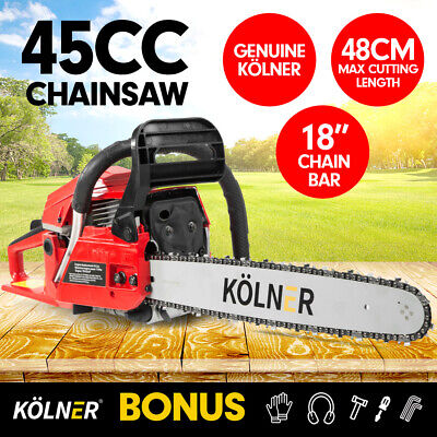 "New 45cc Kolner Chainsaw Petrol 18"" Bar Chain Saw Tree Log Wood Pruning Garden"