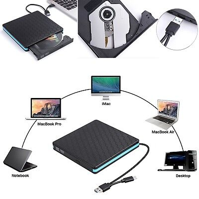 Portable Type-C USB 3.0 External CD DVD VCD Writer Drive Reader For Apple Laptop