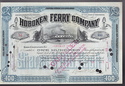 1897 Stock certificate issued to LEHMAN BROTHERS - Hoboken Ferry SUPERB!