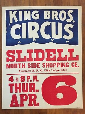 Vintage 1972 Slidell, Louisiana Circus Poster King Bros. Rare Ex Cond Large