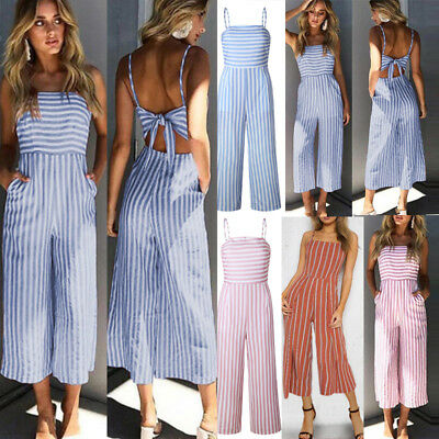 Women Bowknot Backless Striped Jumpsuit Strappy Ladies Wide Leg Trouses Playsuit