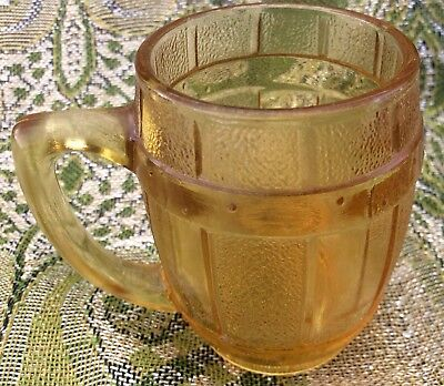 Small Vintage Amber Glass Barrel Mug~Toothpick Holder/Shot Glass