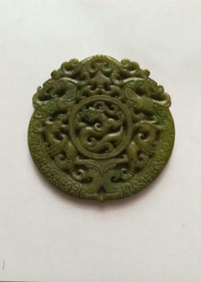 Ancient Chinese hand-carved jade dragon pendant  Jade