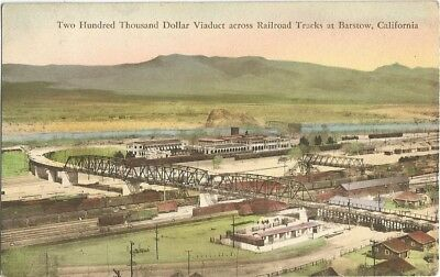 Barstow, CA Ludlow, California old Postcard, Viaduct And Train Tracks, Albertype