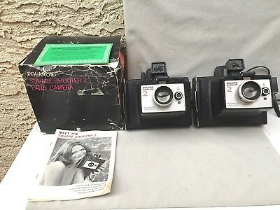 2 Vintage 70s Polaroid Square Shooter 2 Instant Picture Camera & 1  Box Instruct