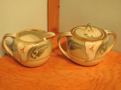 Vintage RS Germany Green Creamer and Lidded Sugar Gold Trimmed Calla Lily Signed