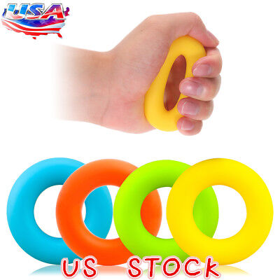 Silicone Strength Finger Hand Grip Muscle Power Training Rubber Ring Exerciser