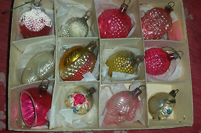 """Antique lot of 12 Mercury Glass Feather Christmas Tree Ornaments 1to 1-1/2"""" size"""
