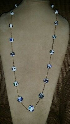 """Vintage Venetian Glass Graduated Bead Wire Strung Necklace - 29"""" - Blue & White"""