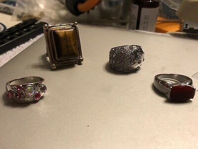 Lot of Four (4) Vintage Rings with Unknown Stone & Unidentified Metal