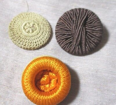 Antique Vintage Mixed Set Of 3 Large Crocheted Woven & Threaded Buttons