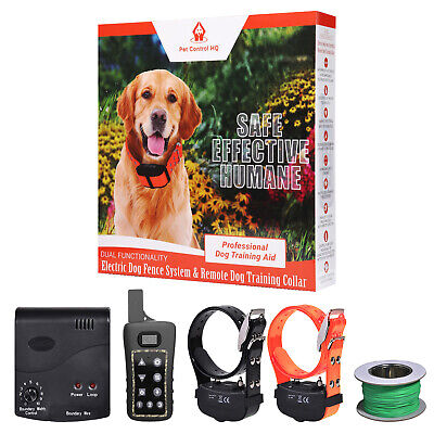2 Dog electric fence system remote training collar invisible waterproof wireless