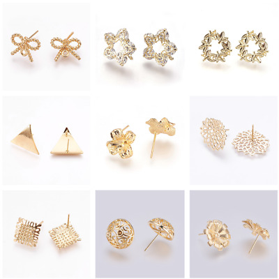 Brass Ear Stud Findings Long-Lasting Plated Real Gold Stud Earring Mixed Shapes