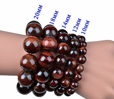 100% Real Natural Red Tiger's Eye Gemstone Round Beads Stretchy Bracelet 7.5''