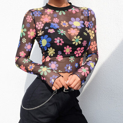 Womens Sheer Mesh Fish Net Floral Long Sleeve Round Neck See Crop Top Blouse
