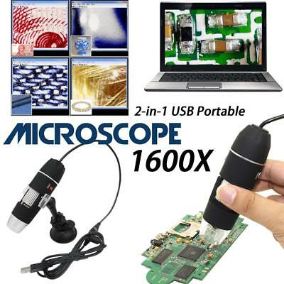 1600X USB 8 LED Digital Microscopes 2In1 Electronic Detection Magnifier+Bracket
