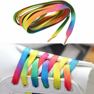5 pairs Rainbow Color Colorful Flat Sports Shoe Laces Strings Strap for Unisex