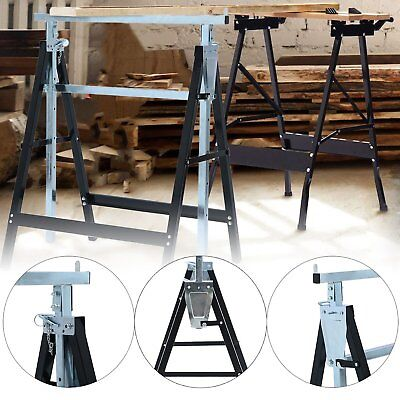 2X Telescopic Trestle Saw Horse Foldable Work Bench Steel Workbench Support AUS