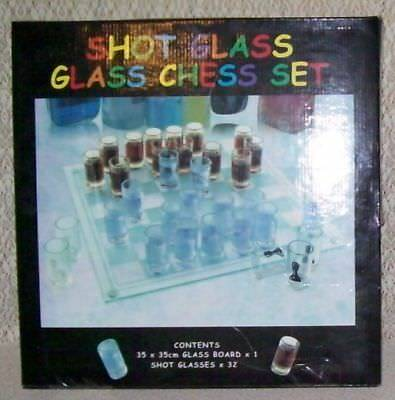 DRINKING GAME - SHOT GLASS and GLASS CHESS SET - NEW IN BOX - PICK UP HILLCREST