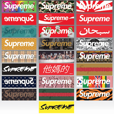25PCS MIXED LARGE SUPREME STICKERS  Skateboard # Logo # Sticker # Decal #