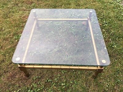 Vintage Hollywood Regency Style Brass / Glass Top Coffee Table-Bamboo Look-36x36