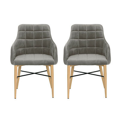 Retro Grey Dining Chairs Velvet Fabric Kitchen With Armrest Room