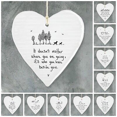 East of India White Porcelain Message Hearts, Family / Friends Gifts