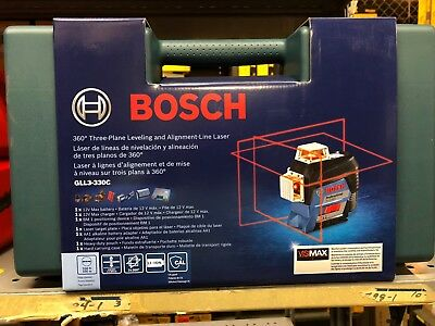 BOSCH PART# GLL3-330C 360 Degree Red-Beam Laser KIT + FREE 2ND BATTERY