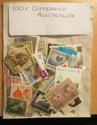 100.x. AUSTRALIA STAMPS, ALL DIFFERENT, OFF PAPER, with FREE U.K. POSTAGE