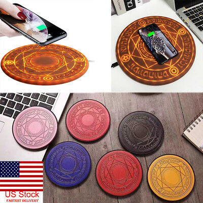 US Glowing Magic Array Qi Wireless Fast Charger 5W 10W for iPhone Samsung Huawei