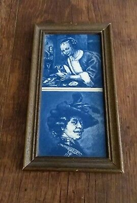 Vintage Made In Holland Delft Blue Hand Painted Framed Tiles Souvenir Picture