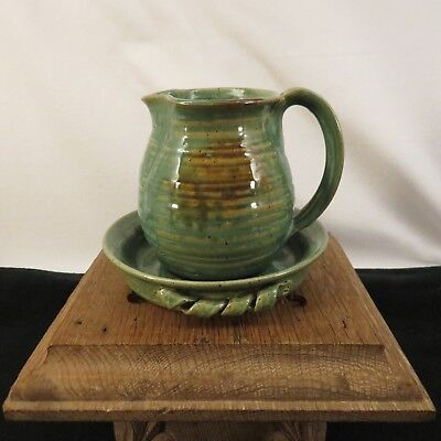 Vintage MOLE HILL POTTERY Signal Mountain Tennessee Art Pottery Pitcher & Dish!!
