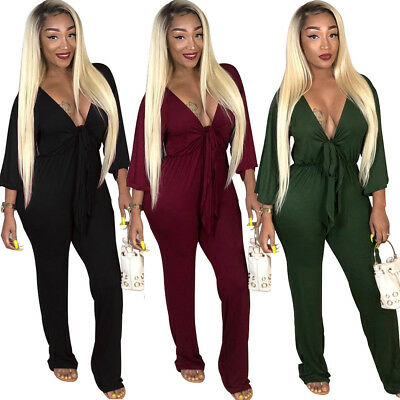 Womens Long Sleeve Wrap V-neck Tie Front Jumpsuit Sexy Clubwear Playsuit Pants