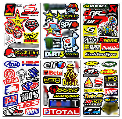 6 Motocross Motorcycle Helmet Racing Stickers Sponsor Logo Bike Graphic Decals C