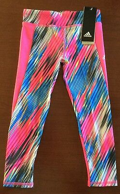 Nwt Adidas Climalite Girls Printed Patterned Leggings Size 4 ~ Msrp $28.00